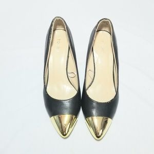 Torrid Black Pumps With Gold Tips